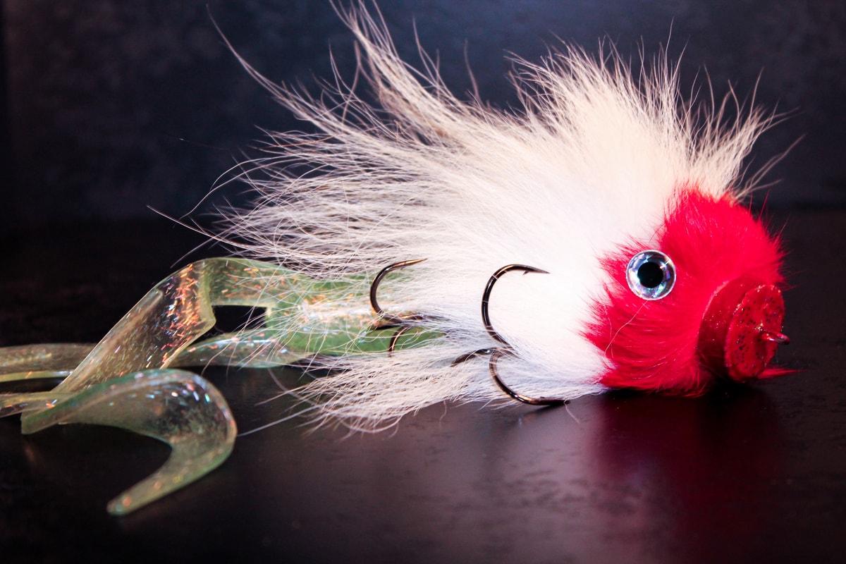 Fluffy handmade pike bait treble hooks